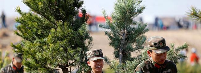 武警官兵义务植树为城市添绿